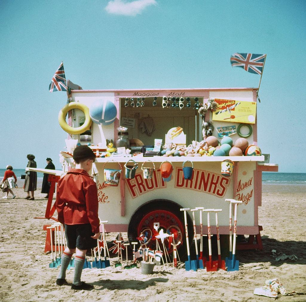 A drinks stall on the beach in Blackpool, 1954.