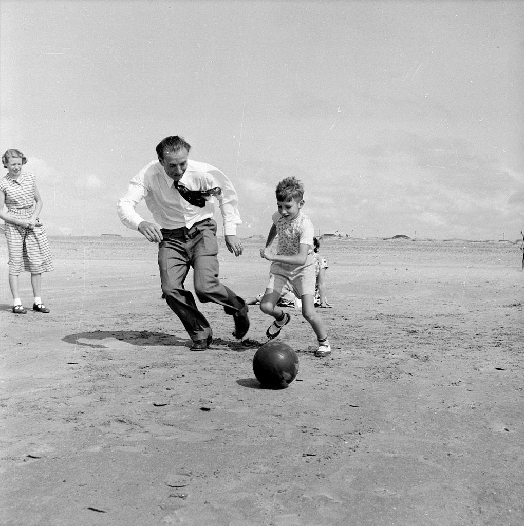 The country's most famous football player, Stanley Matthews of Blackpool, 1954.