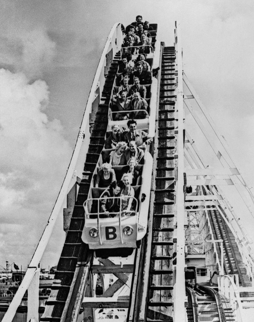 Bank Holidaymakers on the Big Dipper at the Blackpool Pleasure Beach, 1953.