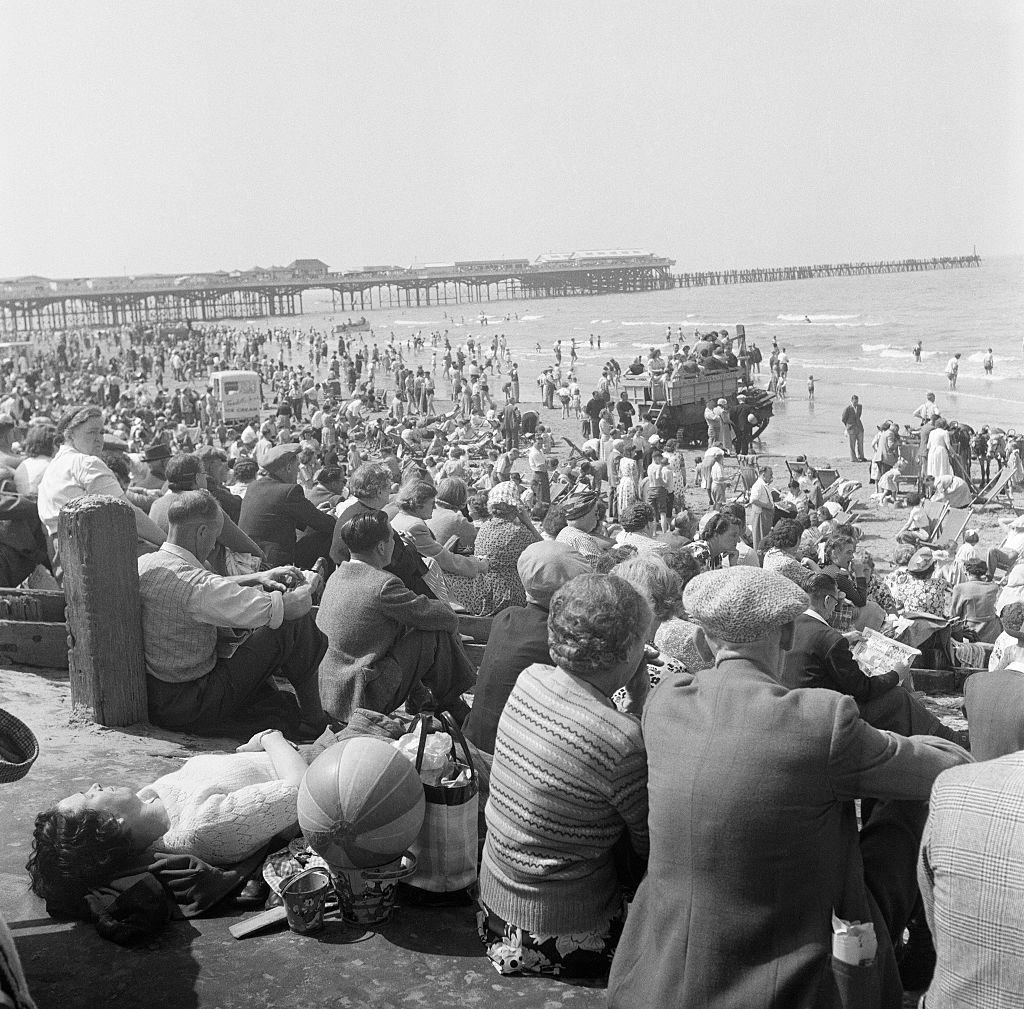Holiday scenes in and around Blackpool Beach, Lancashire. July 1952.