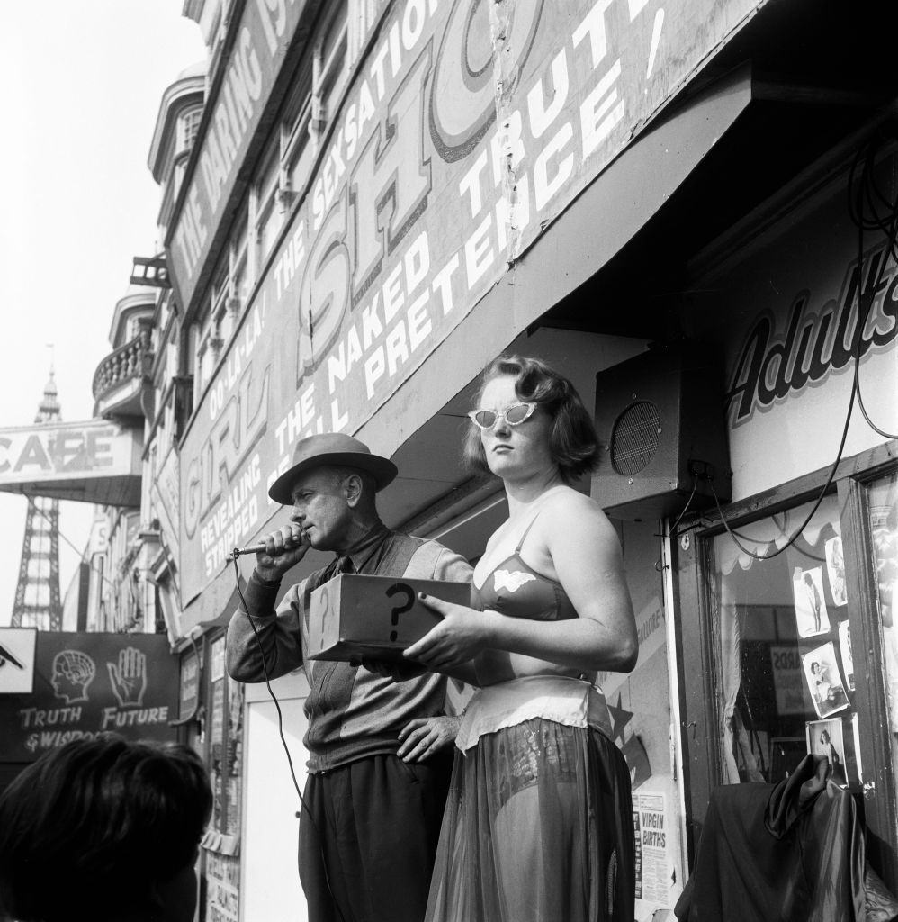 Scenes on the Golden Miles in Blackpool, Lancashire, 1st August 1956.