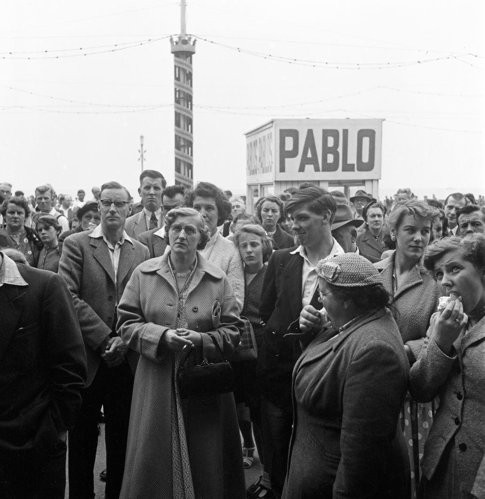 Scenes on the Golden Miles in Blackpool, 1956.