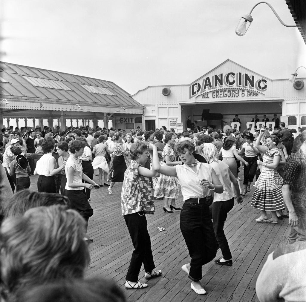 Rock n Roll session on the pier a Blackpool, Lancashire, 18th July 1957.