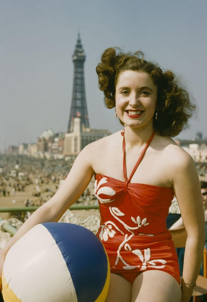 A women with ball on the Blackpool, 1954.