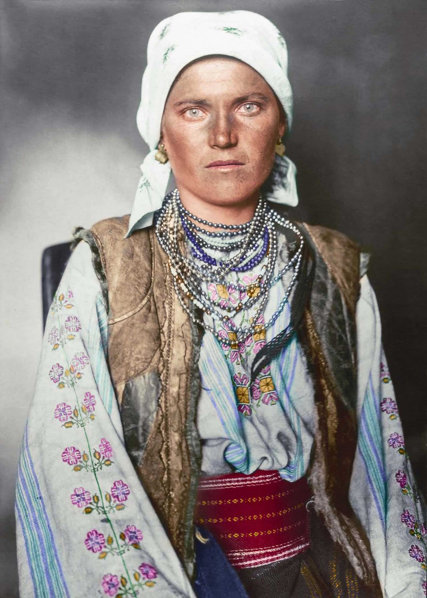 """Ruthenian woman."""" Historically inhabiting the kingdom of the Rus ranging from parts of modern-day Slavic-speaking countries, this example of Ruthenian traditional dress consisted of a shirt and underskirt made from linen which was embroidered with traditional floral-based patterns. The sleeveless ja"""