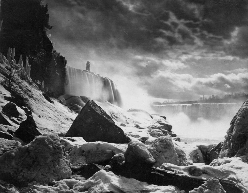 Niagara Falls on the border between Canada and the USA in winter, 1890.