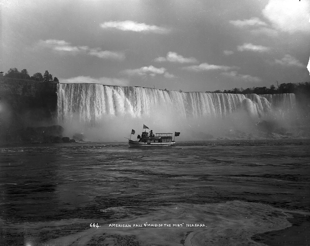 American Falls and the 'Maid of the Mist,' Niagara Falls, New York, 1890s.