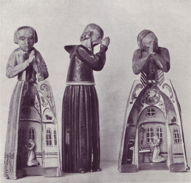 Figures of Monks and Nuns made to open, wooden playthings from Berchtesgaden, 18th century.