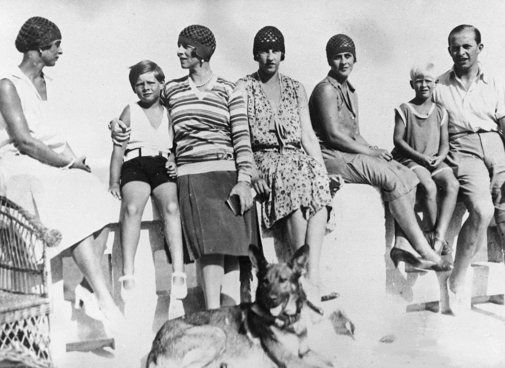 Philip (second from the right) pictured on holiday in Romania in September 1928.