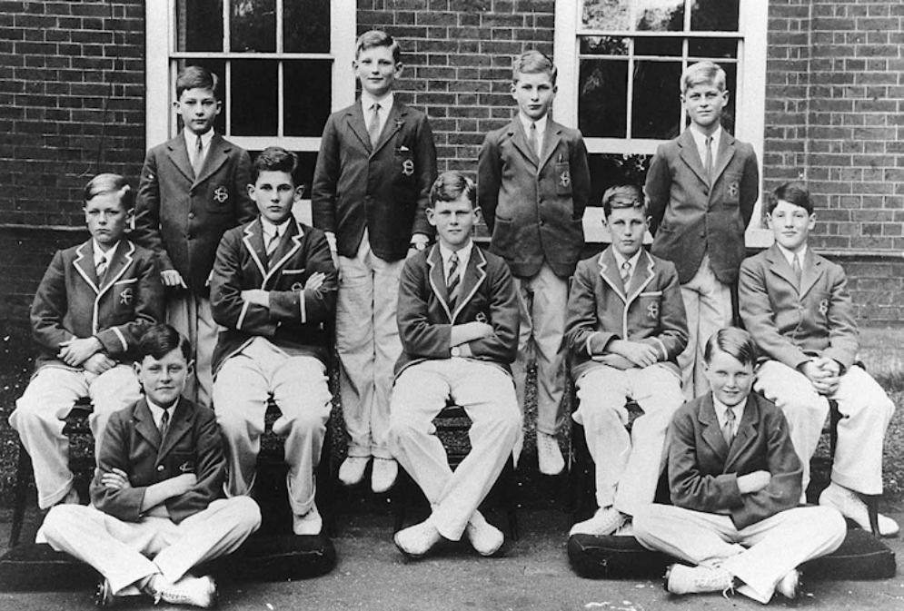 The Cheam School cricket team, 1934. Prince Philip is at top right.