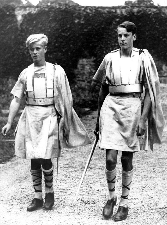 Philip, left, in costume for a production of MacBeth at Gordonstoun in 1935.