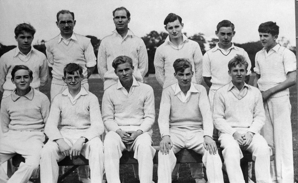Philip, pictured in the bottom row, third from left, with his school cricket team, 1938.