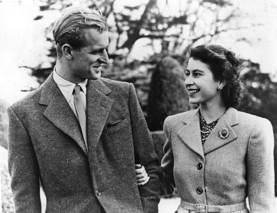 An official photo from the royal honeymoon, 1947.