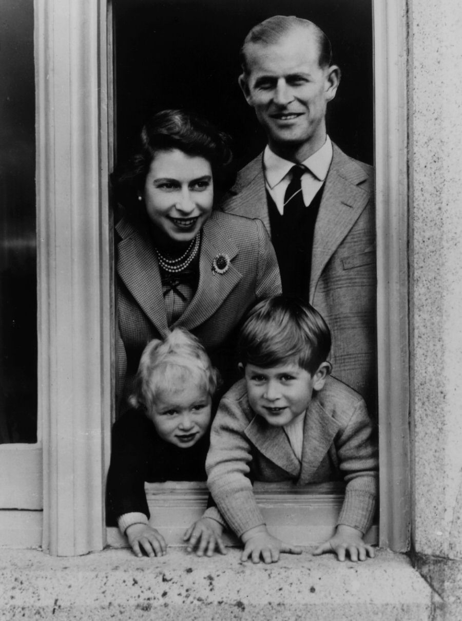 Prince Philip with Princess Elizabeth and their kids at Balmoral Castle, 1952.