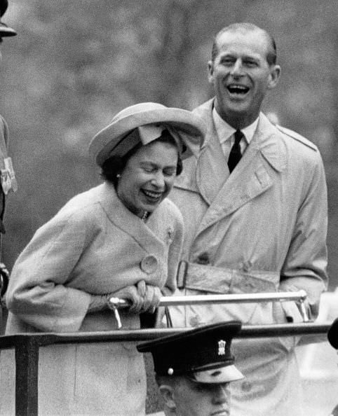 Prince Philip and the Queen having a laugh, 1963.