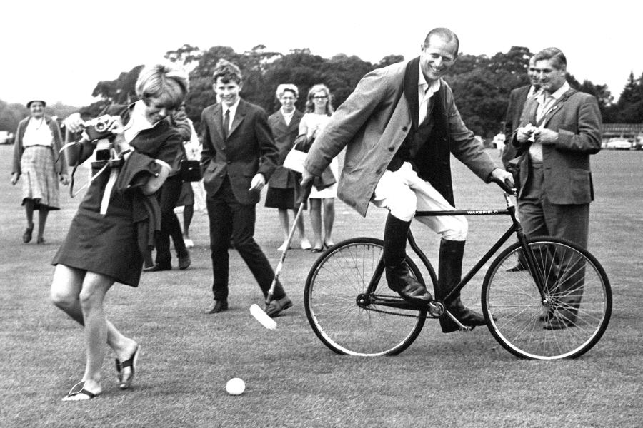 Philip playing bicycle polo, 1964.