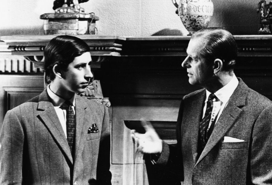 Prince Charles has a chat with his father in Sandringham, 1969.