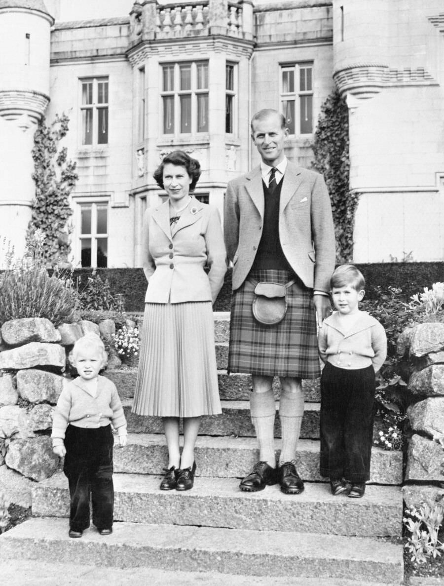 Prince Philip with Queen Elizabeth II, Prince Charles and Princess Anne.
