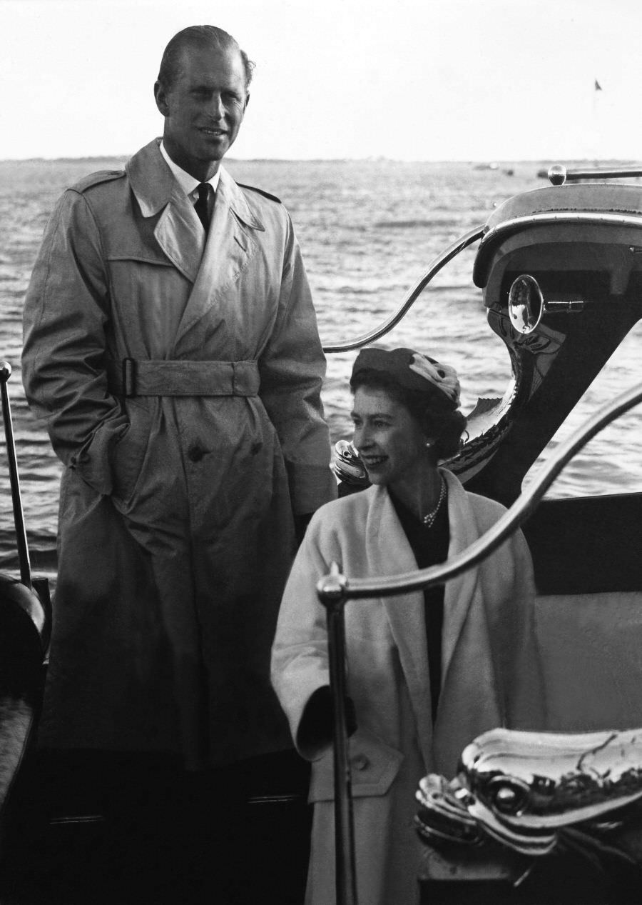 Prince Philip with Queen in Portugal, 1957