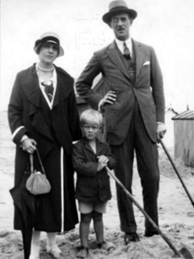 Prince Philip (center) with parents, ca. 1923.