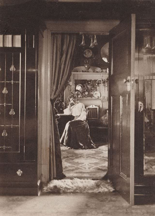 Untitled (early interior with seated woman), circa 1908