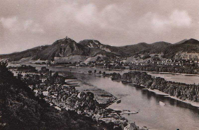 Overlooking Rolandseck and Nonnenwerth near Bonn with view to the Drachenfels, August 1940