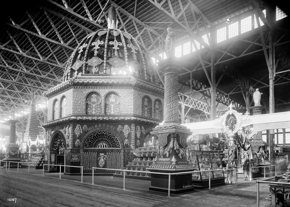 The Missouri Corn Temple exhibit stands inside the Palace of Agriculture.