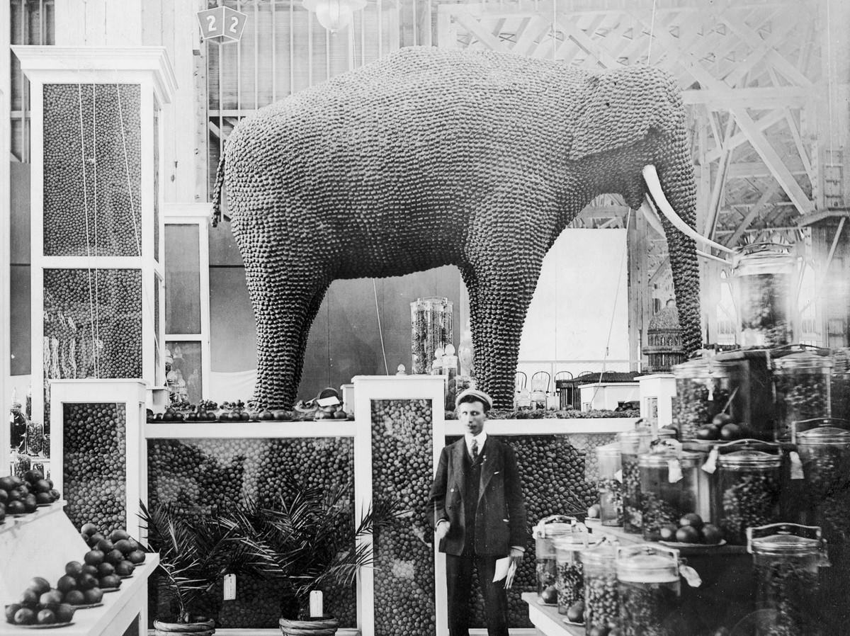 Inside the Palace of Horticulture, an elephant made from almonds stands in the California exhibit.