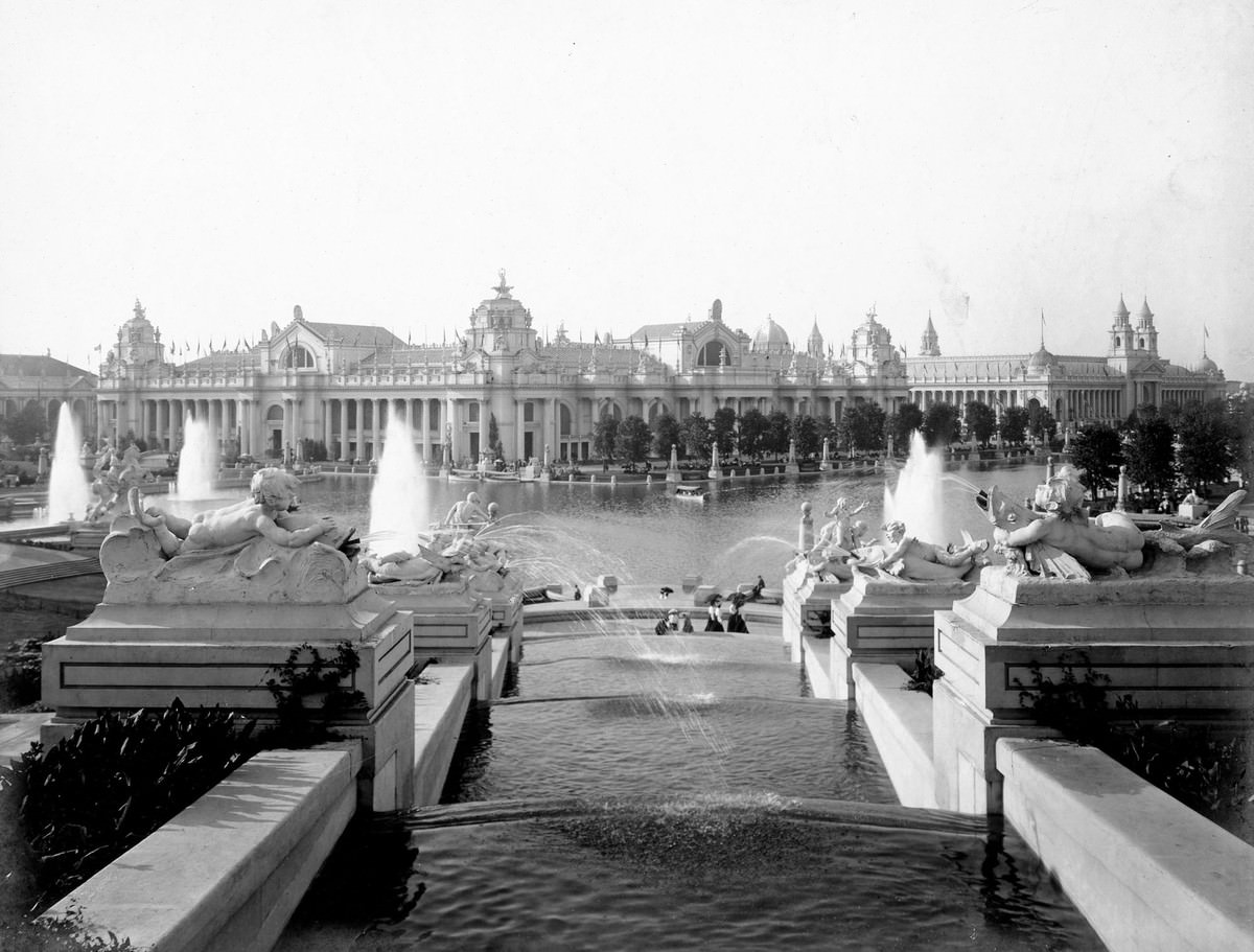 A view of the East Cascade Falls, looking toward the Palace of Electricity