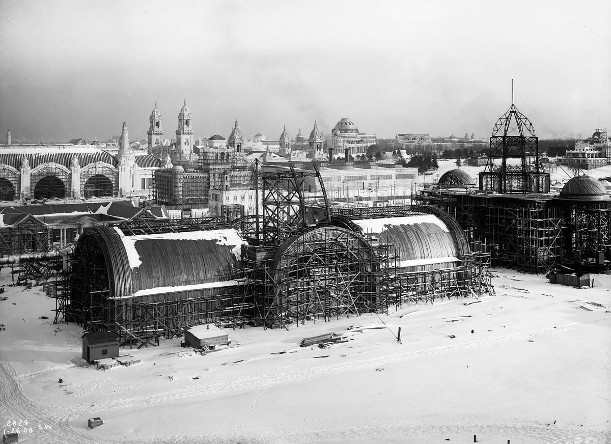 A bird's-eye view of construction taking place on some of the 1904 World's Fair buildings on January 24, 1904