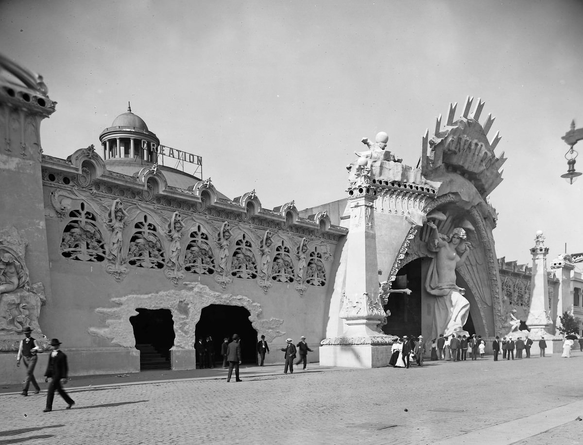 """The """"Creation"""" concession, photographed on the Pike at the 1904 St. Louis World's Fair."""