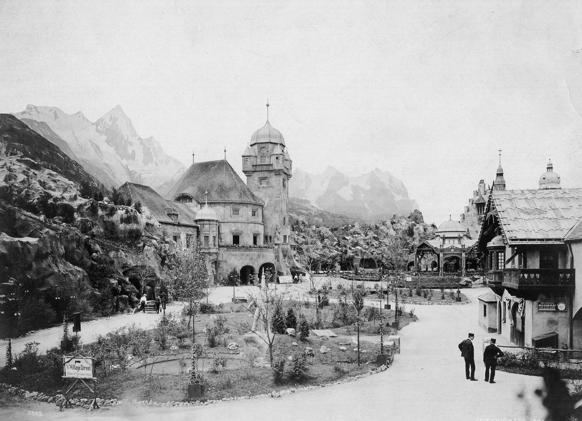 Huge mock-ups of mountains and hills surround the buildings of the Pike's Tyrolean Alps concession.