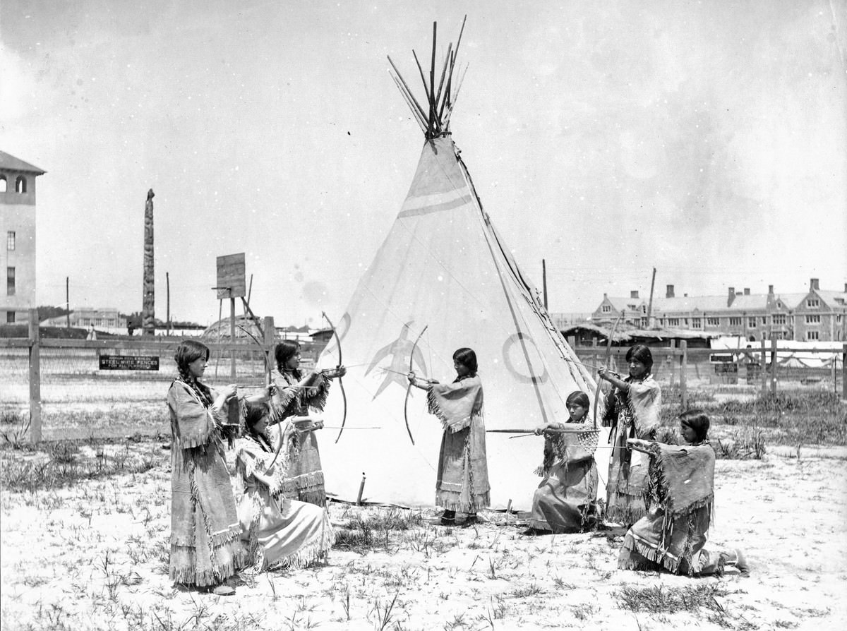 Indian Girl Archers. A U.S. government exhibit at the 1904 World's Fair.