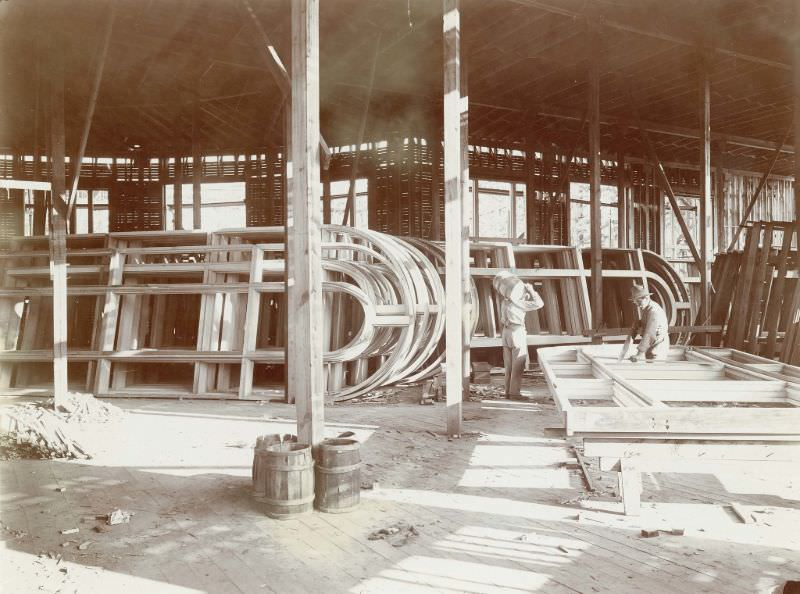 Workers making window sashes for the Palace of Varied Industries during the construction phase for the 1904 World's Fair, 1902-03