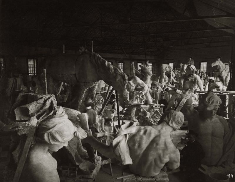 The enlarging studio for sculpture created for the 1904 World's Fair in Erie Roundhouse, Weehawken, New Jersey, 1903