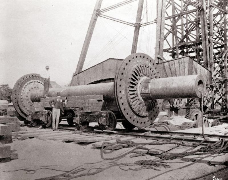 Seventy ton axle of the Ferris Wheel, as delivered to the 1904 World's Fair construction site, 1904