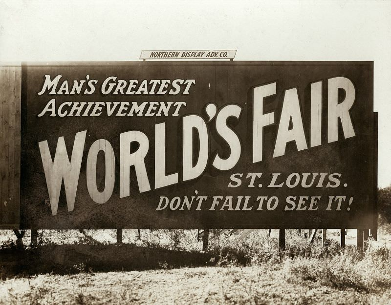 Billboard at State and Washington Streets in Minneapolis, Minnesota advertising the 1904 World's Fair in St. Louis, 1904