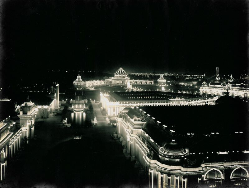 Night view of 1904 World's Fair grounds from the DeForest Wireless Telegraphy Tower, 1904
