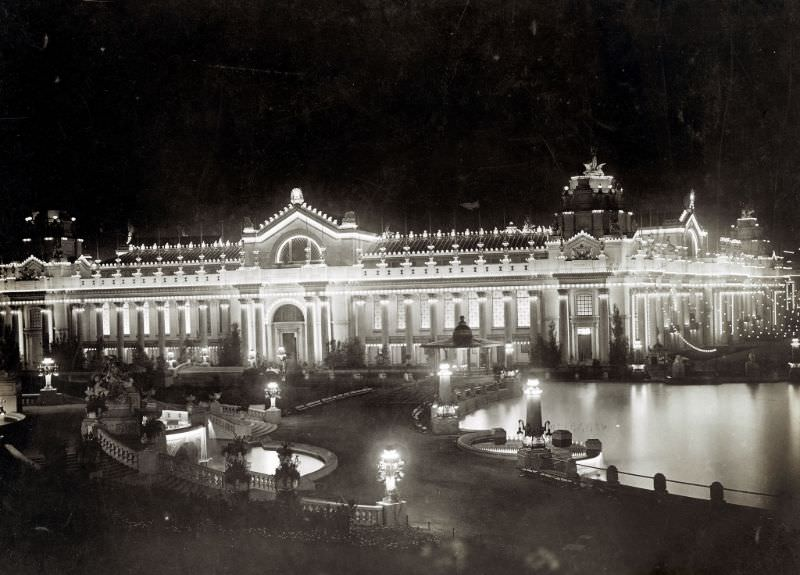 Night view of the Palace of Electricity from Festival Hall at the 1904 World's Fair, 1904