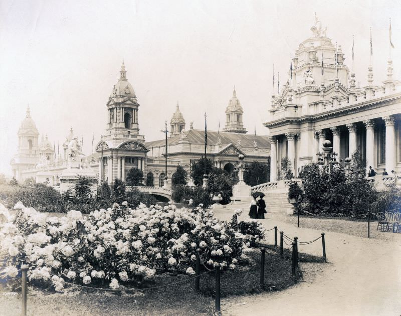 View looking across the Palace of Electricity grounds toward the Palace of Machinery at the 1904 World's Fair, 1904