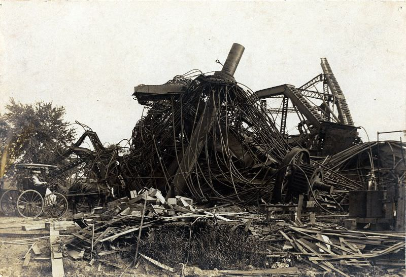 Wreckage of the Ferris Wheel used at the 1904 World's Fair after demolition, 1906