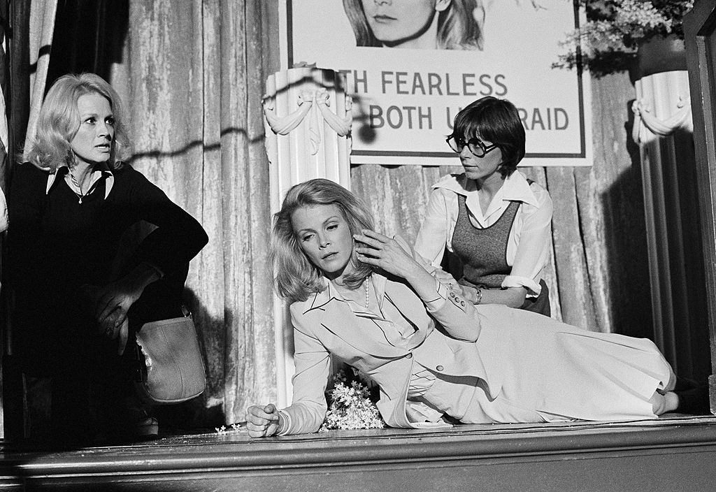 Angie Dickinson with Laraine Stephens and one other in 'Police Woman', 1978.