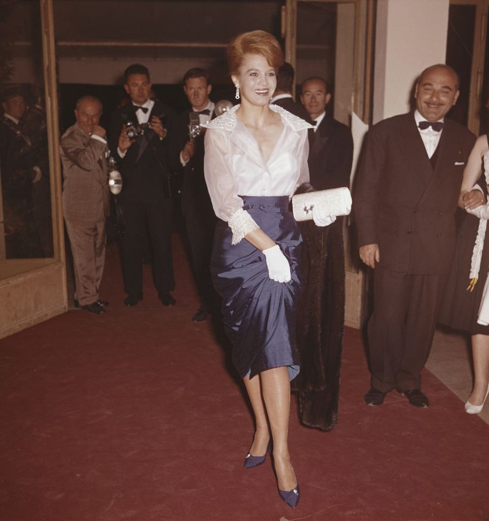 Angie Dickinson attends the 1961 Cannes Film Festival at Cannes in France in May 1961.