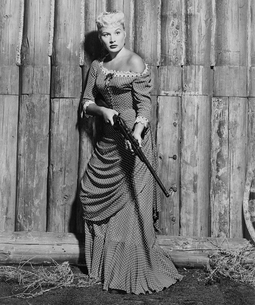 Barbara Payton as Cathy Eversham in the western 'Only the Valiant', 1951.