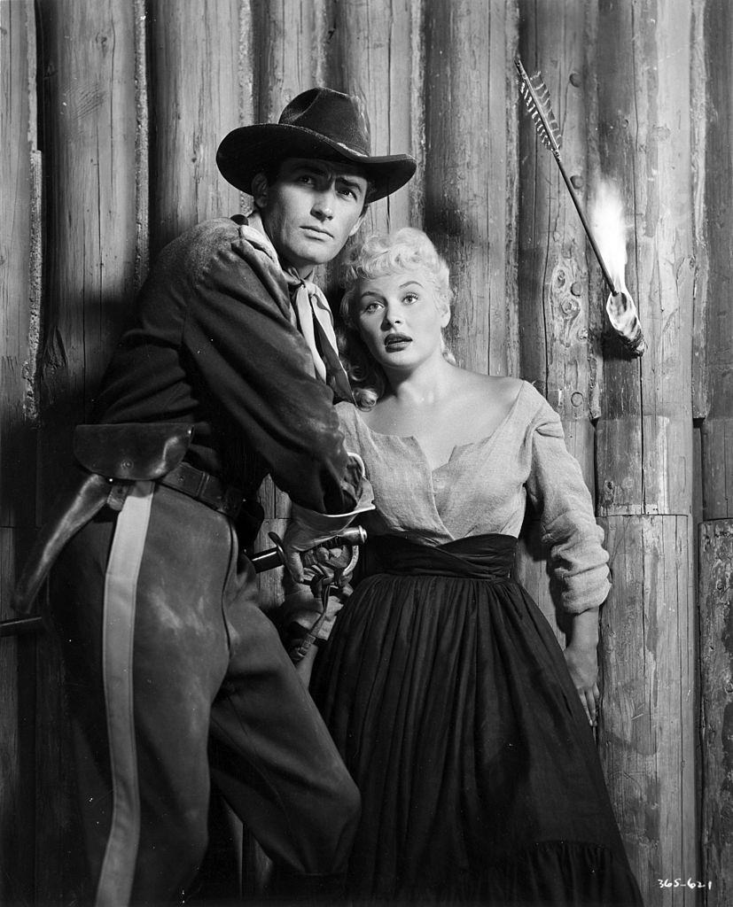 Barbara Payton with actor Gregory Peck in the movie 'Only the Valiant', 1950.