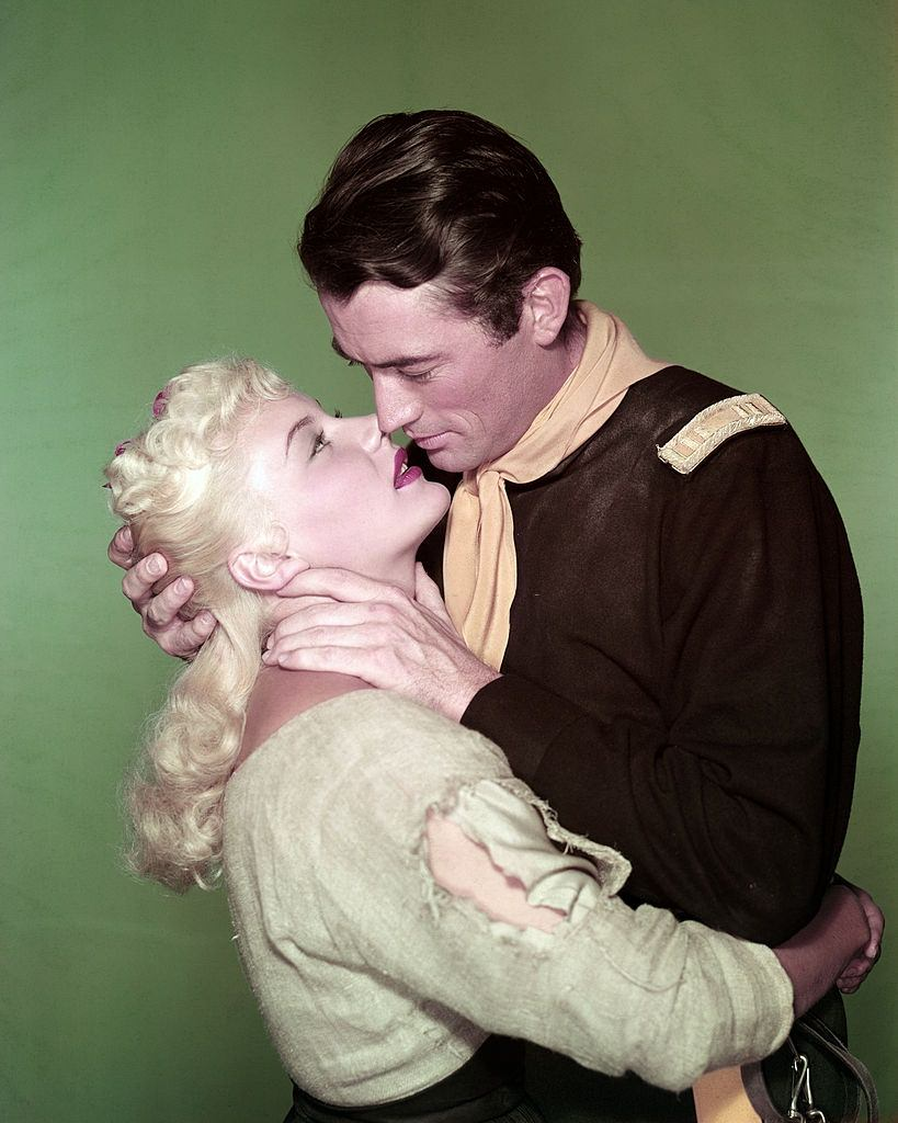 Barbara Payton with Gregory Peck in a scene from the movie 'Only the Valiant', 1951.