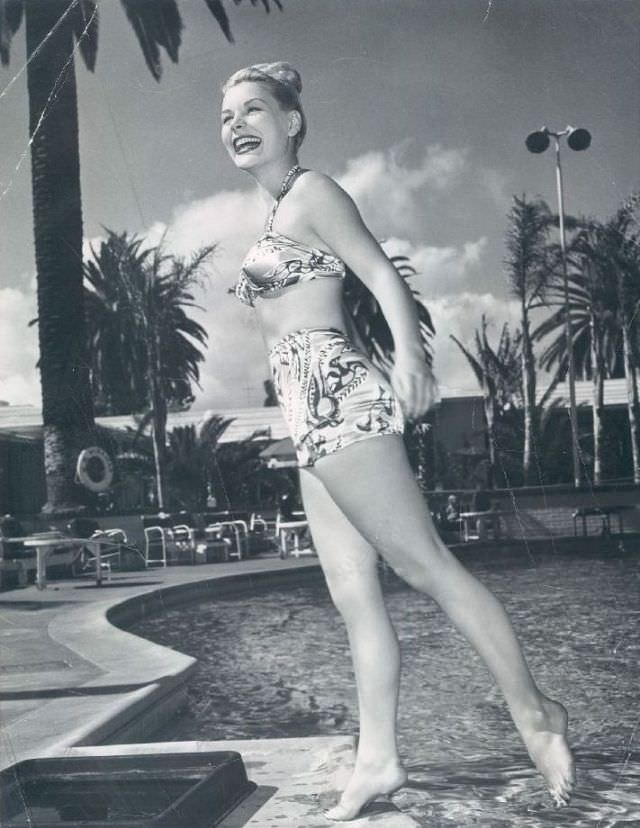 Barbara Payton by the poolside, 1950.