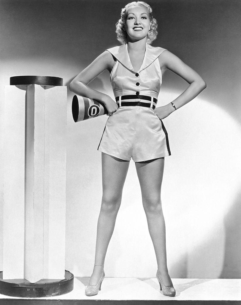 Betty Grable in a publicity shot for the film 'Collegiate,' Hollywood, 1935.