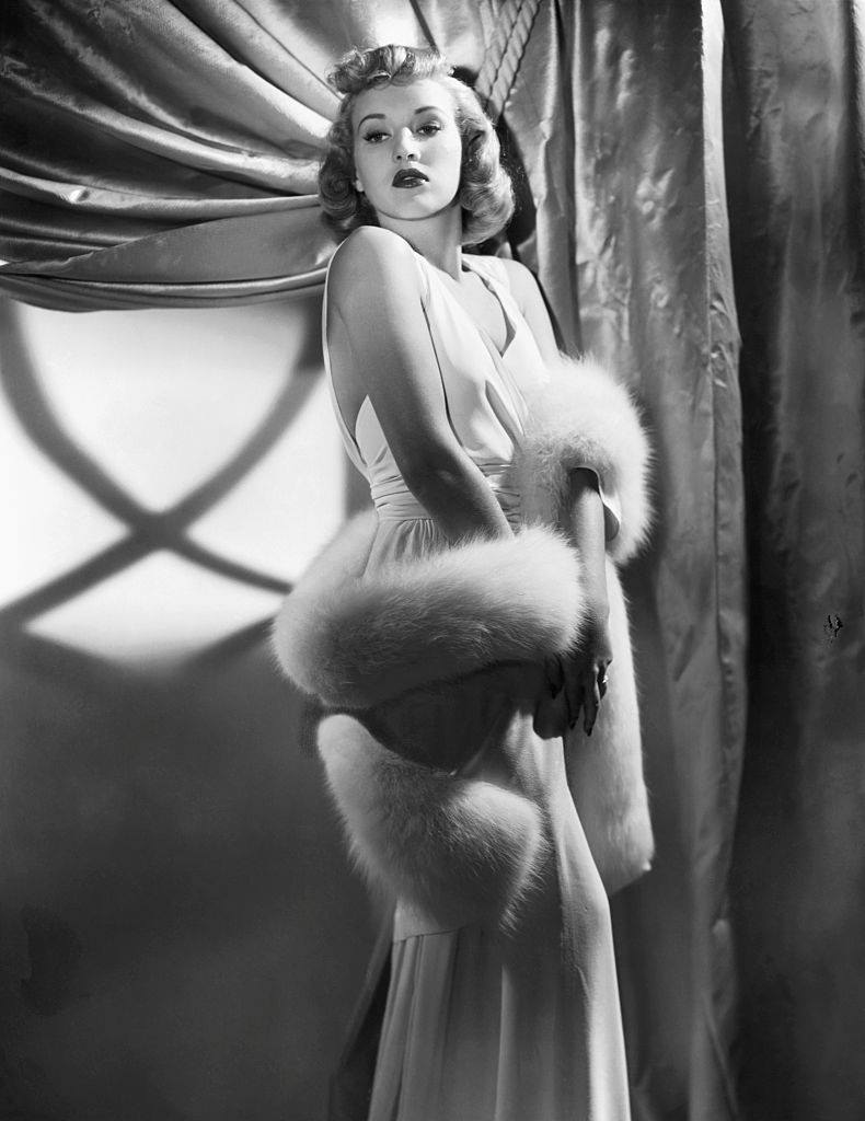 Betty Grable holding Fur Stole, 1939.