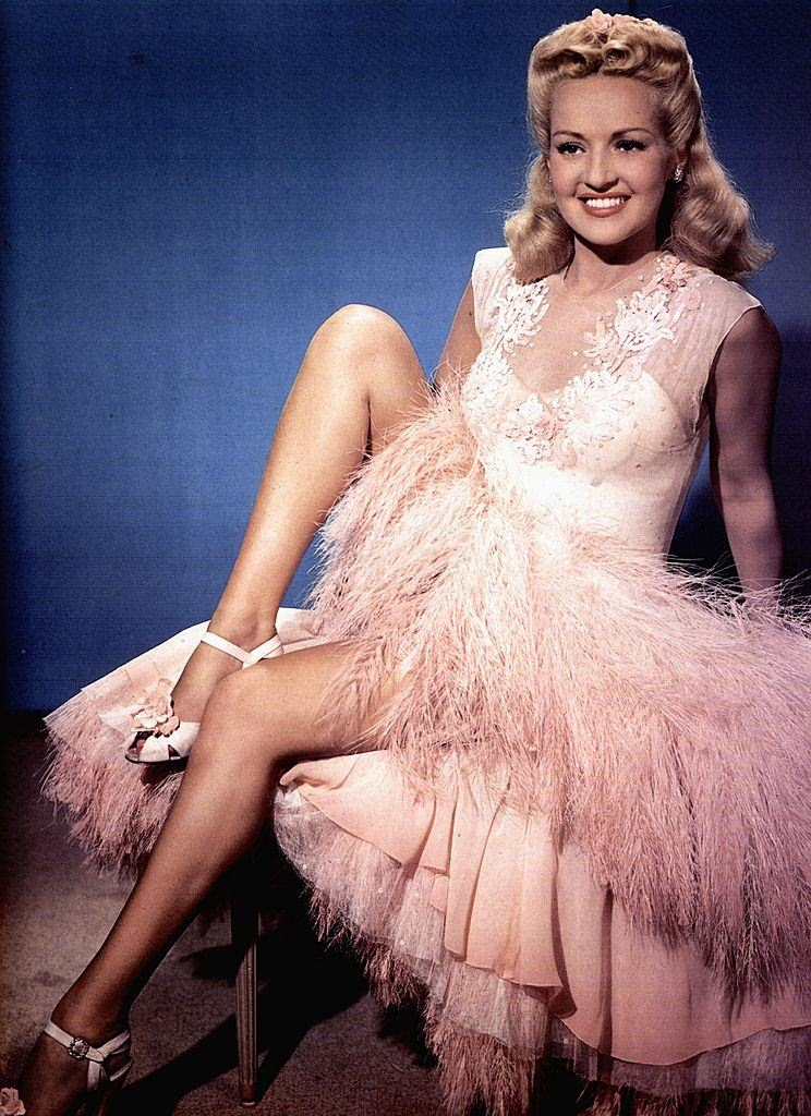 Betty Grable in pink dress, 1930.